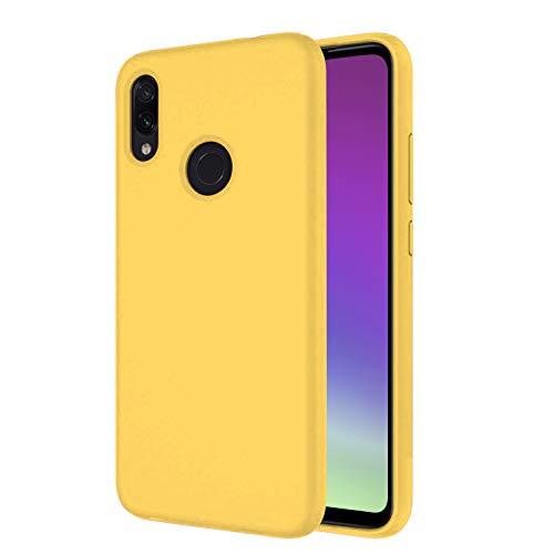 TBOC Funda para Xiaomi Redmi Note 7- Carcasa Rígida [Amarilla] Silicona Líquida Premium [Tacto Suave] Forro Interior Microfibra [Protege la Cámara] Antideslizante Resistente Suciedad Arañazos