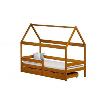 Children's Beds Home - Betthimmel in Hausform, Einzelbett, Teddy, 160 x 80 cm, Erle, zwei kleine, 12 cm hohe Widerstandsfähigkeit Latex