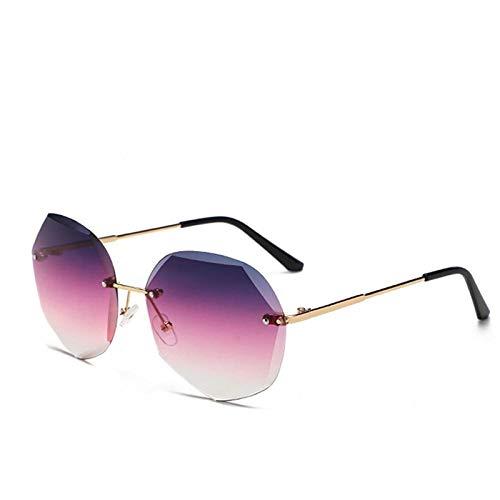 YHKF Gafas De Sol Sin Montura De Moda Gafas De Sol De Diseñador para Mujer Tonos Degradados Lente De Corte Gafas Sin Marco para Mujer Uv400-Gold_Gradient_Purple