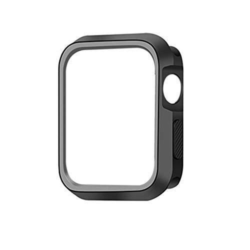 Compatibile con custodia per Apple Watch Series 4 Cinturino Proteggi Schermo 44 mm 40 mm Case Premium TPU Protettiva Completa Trasparente Morbida Cover Nero + Grigio Taglia unica