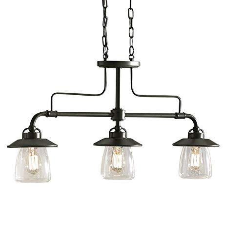 allen + roth Bristow 6.87-in W 3-Light Mission Bronze Kitchen Island Light with Clear Shade