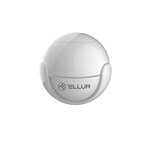 Tellur Smart - Sensor de movimiento WiFi inalámbrico, sensor de movimiento PIR, controlable mediante aplicación, no requiere concentrador, redondo, diámetro de 5 cm, color blanco