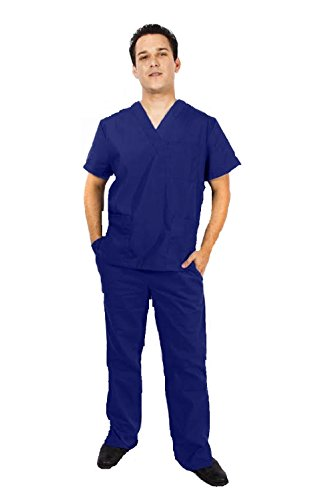 M&M SCRUBS Men Scrub Set Medical Scrub Top and Pants S True Navy Blue
