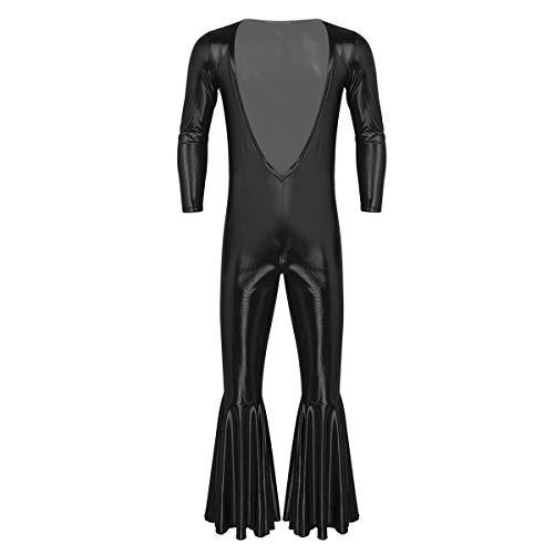 inlzdz Homme Costume Rétro des Années 70 Catsuit à Manches Longues Homme Unitard Col V Profond Disco Combinaison Pantalons à Pattes d?Eléphant Poitrine Ouverte Body Noir M