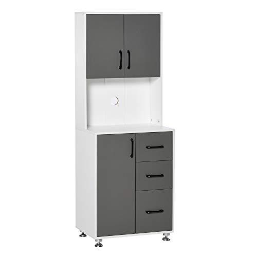 Armoire de cuisine multi-rangements 2 + 1 porte 3 tiroirs + grand plateau dim. 60L x 40l x 150H cm bicolore gris blanc