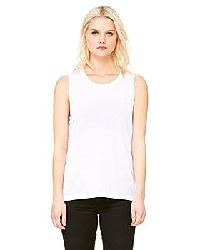 Bella + Canvas Ladies Flowy Scoop Muscle Tank - White - S -  Style # B8803 - Original Label