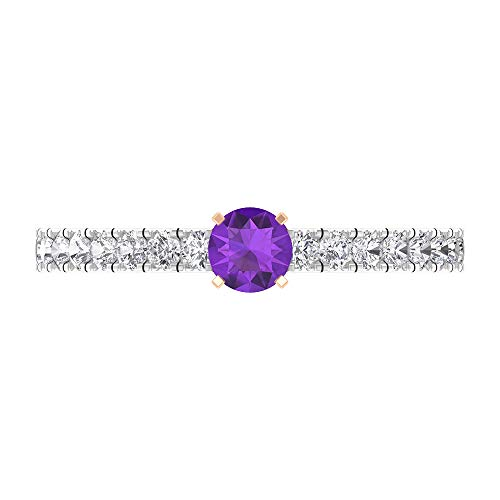 Rosec Jewels 14 quilates oro rosa redonda round-brilliant-shape H-I violeta Diamond Amethyst