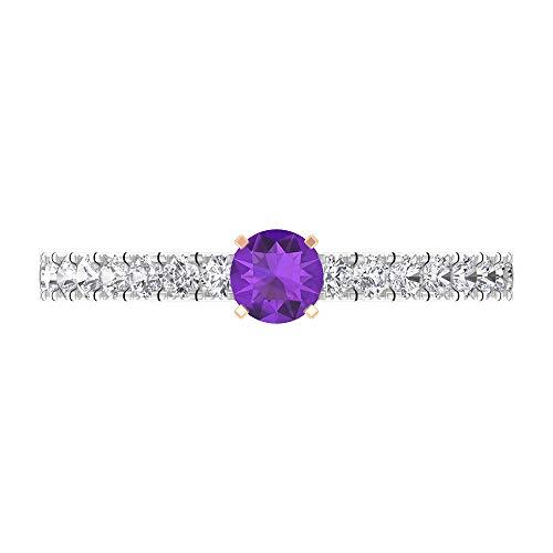 Rosec Jewels 10 quilates oro rosa redonda round-brilliant-shape H-I violeta Diamond Amethyst