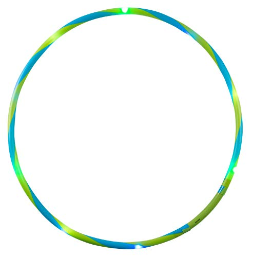alldoro 63010 Hoop Fun Ø 66 cm, Hoopreifen mit 10 LEDs, Hula Reifen für Sport, Fitness und Gymnastik, Sportreifen mit Licht, für Kinder ab 4 Jahren & Erwachsene, grün/blau
