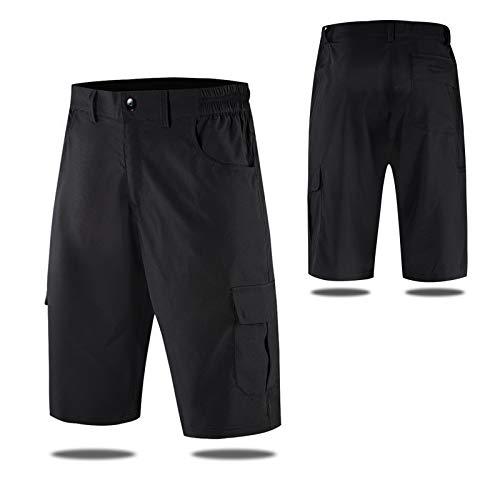 Pantalones Cortos De MTB,Pantalones Cortos De Ciclismo para Hombre,con Acolchados En 3D Y 4 Bolsillos Pantalon Bici,para Deporte Al Aire Libre Y Ciclismo(Size:M,Color:Negro)