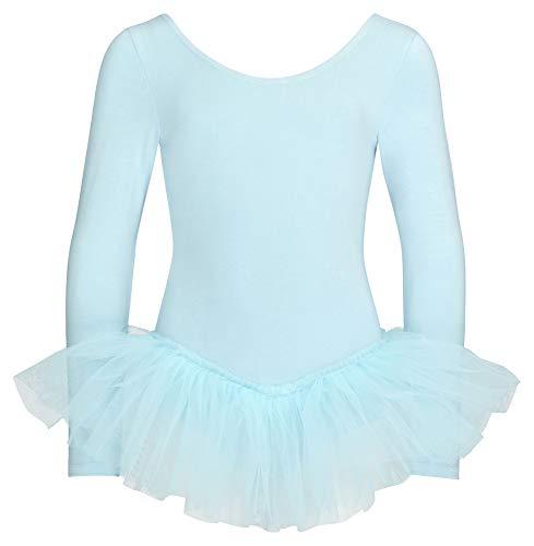 tanzmuster ® Sukienka baletowa dziewczęca z długim rękawem - Alea - (rozmiar 92-170) tutu z miękkiej bawełny body baletowe trykot jasnoniebieski, rozmiar 104/110