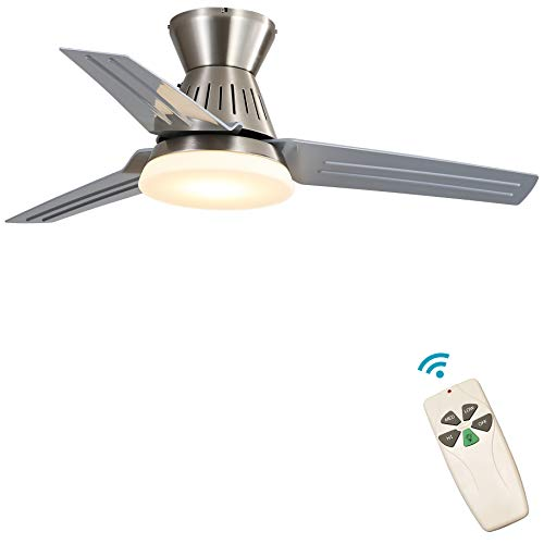 Indoor Low Profile Ceiling Fan - FINXIN Satin Nickel Remote LED 48 Ceiling Fans For Bedroom,Living Room,Dining Room Including Motor,3-Blades,Remote Switch