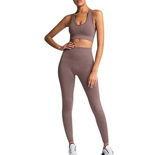 MUYOGRT Mujeres Tops Yoga Seamless Gradient Top de Manga Larga Pantalon Deportivo Leggings Sin Costuras Mujer Alta Cintura Elásticos Fitness para Gym Running Yoga(X-Brown,S)