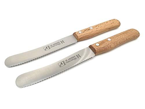 2 Herder Solingen Buckelsmesser Frühstücksmesser 22cm Wellenschliff 1,5mm stark rostfrei Buche