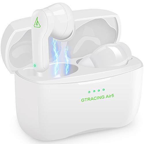 GTRACING Auriculares Inalámbricos Bluetooth 5.0 Auriculares Estéreo TWS Ipx7 Resistentes al Agua con Micrófono y Estuche de Carga (Blanco)