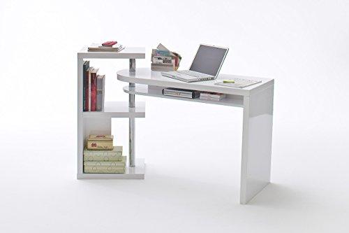lifestyle4living Schreibtischkombination in Hochglanz weiß inklusive Regal, Maße: B/H/T ca. 145/94/50 cm