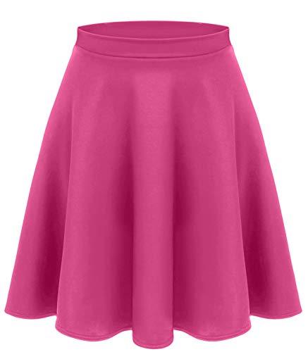 Fuchsia Skirts for Women Dance Skirts Flowy Knee Length Skirt Hot Pink Skater Skirt (Size XXX-Large, Fuchsia)
