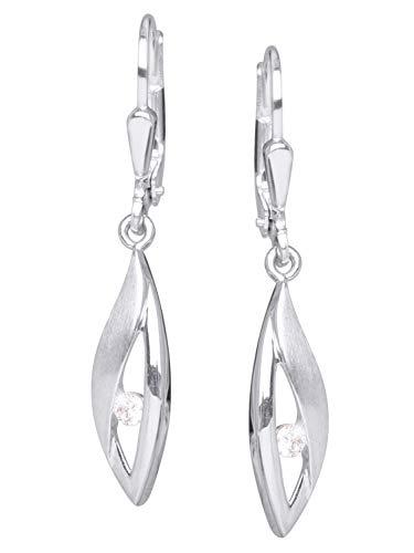 MyGold dames oorbellen oorbellen sterling zilver 925 zilver met steen 35mm x 6mm matte glans zilveren oorbellen zilveren oorbellen geschenken voor vrouwen cadeau-ideeën kerstgeschenken trend Gina V0012479