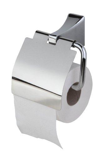 Haceka 1143615 Toilettenpapierhalter, mit Klappe, im Art-déco-Stil, Edelstahl