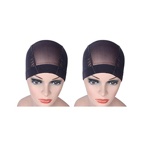 2 PCS/Lot Black Mesh Cap Wig Cap for Making Wigs Stretchable Hairnets with Wide Elastic Band (Mesh...