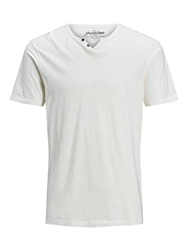 Jack & Jones Jjesplit Neck Tee SS Noos T-Shirt, Cloud Dancer, L Homme