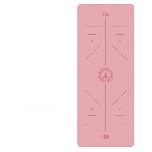 1830 * 610 * 6mm EVA Yoga Mat con línea de posición sin deslizamiento alfombra para principiantes Mats de gimnasia de aptitud ambiental (Color : Red)