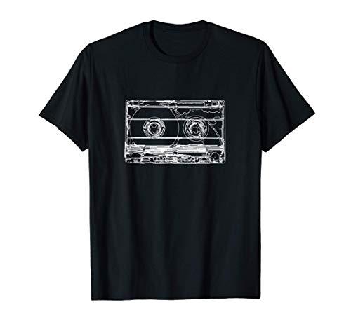 Retro Musik Kassette Skizze Vintage Audio Zeichnung T-Shirt