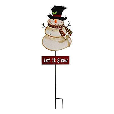 E-view Metal Snowman Garden Stake Christmas Yard Signs with LED Light - Outdoor Decorative Snowman Welcome Sign Winter Holiday Lawn Decoration (Snowman C)