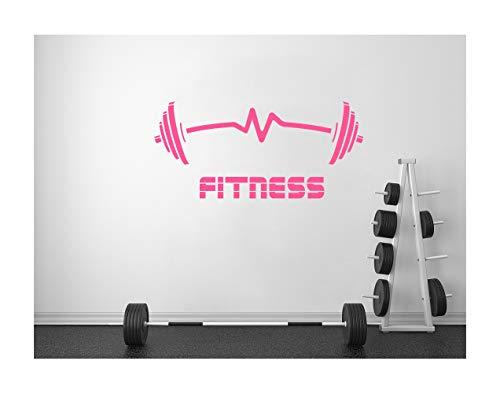 StickerDeen | Mancuernas en forma de latido para ejercicio, músculo, motivación, gimnasio, decoración de paredes, vinilo removible y adhesivo de regalo | (grande), rosa pastel