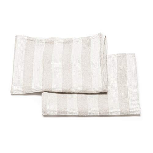 LinenMe Linen Lucas Hand and Guest Towels, 13 by 20-Inch, Natural Striped, Set of 2