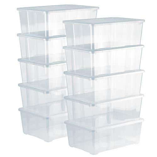 Grizzly Aufbewahrungsboxen 10 x 10 L mit Deckel transparent - Klarsichtboxen stapelbar mit Belüftung