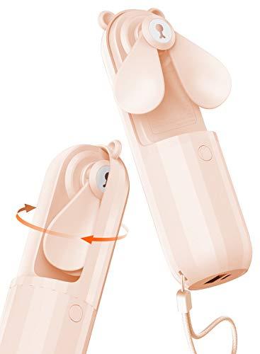 Lahuko Bär Mini Handventilator, 2 Windmodi, 24h Arbeitszeit, Starker Wind, 24h Akkulaufzeit, Power Bank für Handy, Tragbarer USB Mini Lüfter für Büro, Urlaub und Reisen(Rosa)
