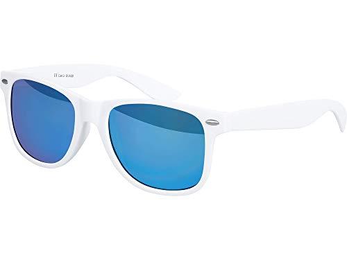 Balinco Hochwertige Nerd Sonnenbrille Rubber im Retro Stil Vintage Unisex Brille mit Federscharnier - 96 verschiedene Farben/Modelle wählbar (Weiß - Blau verspiegelt)