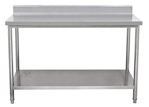 Beeketal 'BA180a' Gastronomie Edelstahl Arbeitstisch 180 x 60 cm mit Aufkantung, Tisch bis 160 kg belastbar, Profi Gastro Küchentisch mit extra großer unteren Ablagefläche und justierbaren Stellfüßen