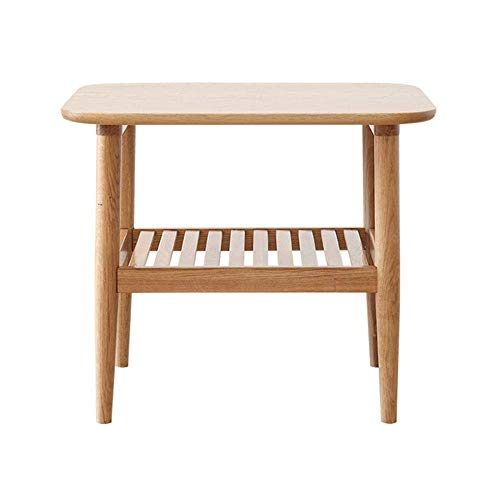 DYB Tavolino da caffè Moderno Nordico in Legno massello, tavolino Laterale a 2 Livelli Semplice Piccolo Appartamento, tavolino portaoggetti Multifunzionale per Divano con Ripiani
