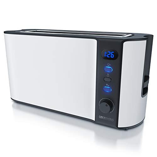 Arendo - Toaster Langschlitz 2 Scheiben - Defrost Funktion - 1000W - Doppelwandgehäuse - Integrierter Brötchenaufsatz - Bräunungsgrade 1-6 - Display mit Restzeitanzeige - Edelstahl weiß