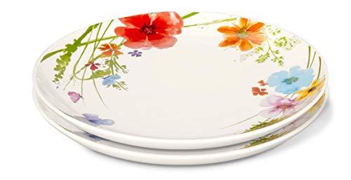 2 Frühstücksteller Blütendekor Teller Porzellan Kuchenteller Blumen