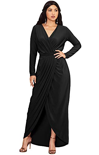 KOH KOH Petite Womens Long Sleeve Full Length V-Neck Sexy Wrap Empire Waist Formal Winter Fall Cocktail Wedding Evening Gown Gowns Maxi Dress Dresses, Black S 4-6