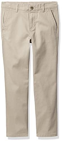 IZOD Boys' School Uniform Flat Front Twill Pants, Khaki, 6