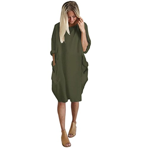 LONUPAZZ Robe Ample Grande Taille Femme Casual Col Rond Manche Longue Poche Robe Chemise T-Shirt (Asian S, Armée Verte)