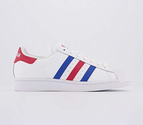 Adidas Superstar - Scarpe da ginnastica da uomo, Bianco (bianco, blu, rosso.), 38 EU