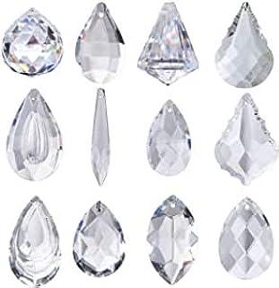 H&D Pack of 12 Clear Crystal Chandelier Lamp Lighting Drops Pendants Balls Prisms Hanging Glass Prisms Parts Suncatcher Ho...