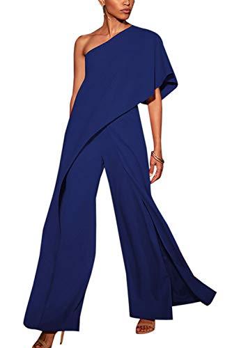 YACUN Mono Largo Mujer Fiesta Verano de un Hombro sin Mangas Pantalones Largos Pierna Ancha Cintura Alta Causal Elegante Azul XL