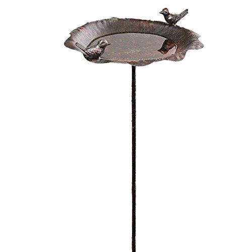 SIDCO Vogeltränke Metall Gartenstecker Vogelbad Vogelbecken Futterschale Rostoptik