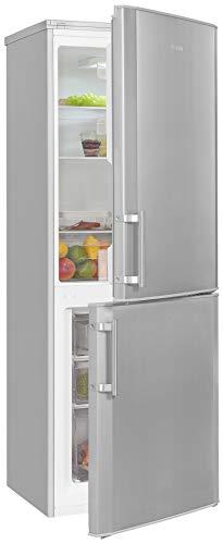 Exquisit Frigorífico y congelador KGC270-70-H-040E, plateado, dispositivo de pie, 190 l de volumen, color plateado