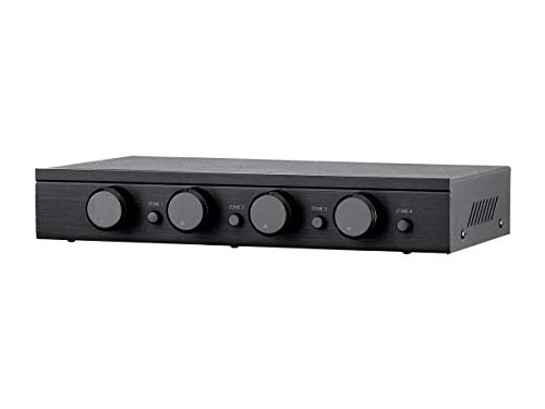 Monoprice SSVC-4.1 Single Input 4-Channel Speaker Selector with Volume Control, Impedance Protection, Individual Zone On/Off Buttons, Black, Model Number: 138159