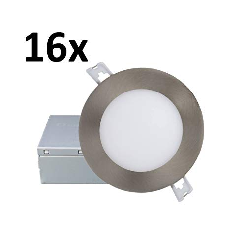 10 Watts =75W Dimmable 4 Pack, 4000K Cool White IC Rated//cETLus//Energy Star Certified QPLUS 4 Inch Slim Panel Ultra Thin Recessed LED Pot Lights with Brown//Bronze Trim Rings 750 Lumens