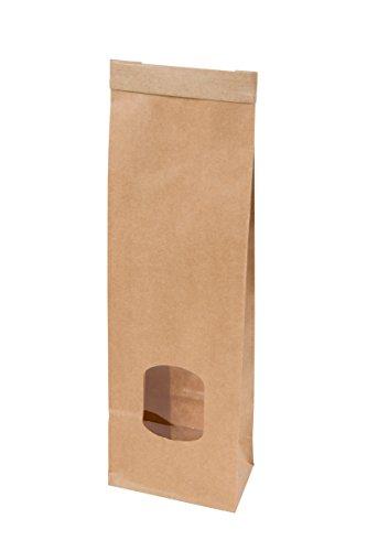BIOZOYG Braune Kraftpapier Tüten mit Fenster recycelbar I kleine braune Papiertüten zur Aufbewahrung I Blockbeutel mit Bindedraht Verschluss wiederverwendbar I Kraftkarton ungebleicht 500 Stück
