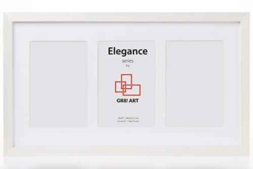 GR8! Art Elegance Bilderrahmen für Fotos mit 3 Blenden, 40 x 22,5 cm, für drei 10 x 15 cm, Weiß