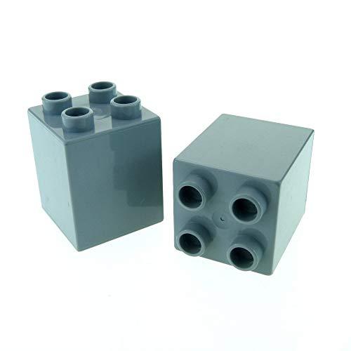 LEGO 2 x Duplo BAU Stein neu-hell grau 2 x 2 x 2 Uni für Burg Mauer Säule Cars Bob der Baumeister Set 5641 4864 5816 3289 31110